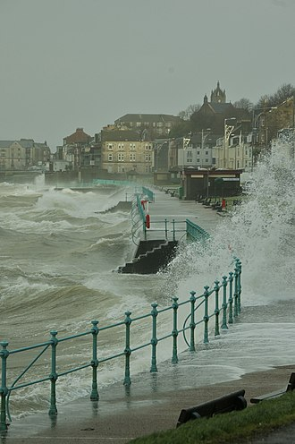 Hurricane Bawbag - Large waves from the storm at the Ashton area in Gourock, Inverclyde