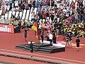 2011 heptathlon medal ceremony, Jessica Ennis-Hill (36561636425).jpg