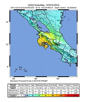 2012 Costa Rica earthquake - USGS ShakeMap for the event