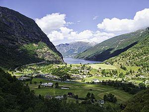 Flåm - Flåm in Flåmsdalen at the inner end of Aurlandsfjorden