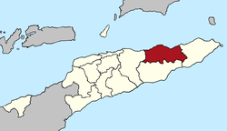 Map of East Timor highlighting Baucau District