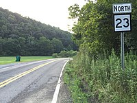 2017-07-23 19 49 31 View north along West Virginia State Route 23 just north of Roundbottom Road (Doddridge County Route 55-10) in Sedalia, Doddridge County, West Virginia.jpg