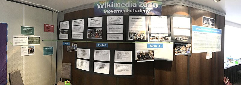 Image of a bulletin board at Wikimania containing many pieces of Movement Strategy information