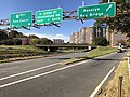 2018-10-31 11 41 26 View west along U.S. Route 50 (Arlington Boulevard) at the exit for Rosslyn and the Key Bridge in Arlington County, Virginia.jpg