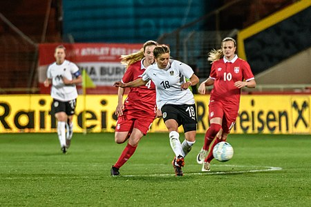 20180405 FIFA Women's World Cup Qualification AUT-SRB Laura Feiersinger 850 6781.jpg