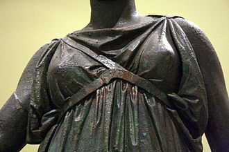 History of bras - Criss-crossed breast bands on a bronze statue of Artemis (mid-4th century BC)