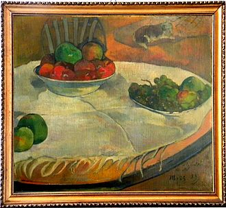 Fruits on a Table - Still Life with Apples and Grapes by Paul Gauguin (1889)