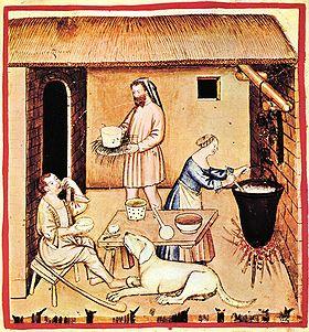 Caseus, illustratio e Tacuino Sanitatis Casanatensi, anno fere 1390 facta