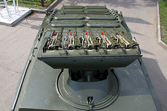 9M113 Konkurs - 9M113 Konkurs launching rails on the top of 9P148 vehicle