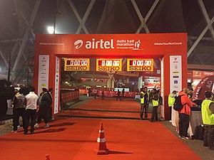 Delhi Half Marathon - Finish line of Airtel Delhi Half Marathon 2016 at Nehru Stadium