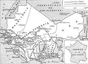 French West Africa - Map of the seven colonies of the AOF in 1936. Note that the eighth colony, French Upper Volta was in this period parceled between its neighbors. French Sudan also contains a large portion of what is today the eastern half of Mauritania.