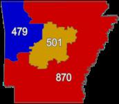 List Of Arkansas Area Codes Wikipedia - Arkansas area code map