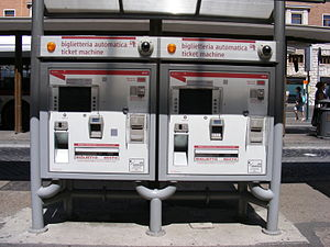 ATAC SpA - ATAC ticket vending machines at a bus stop in Rome