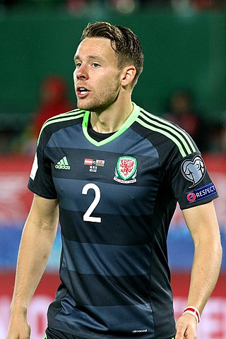 Chris Gunter winning his 75th cap for Wales in Austria, 6 October 2016 (now 78 caps), Photographer: Benutzer Steindy