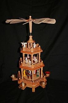 В центре рынка установлена большая елка и высоченная рождественская пирамида.  Рождественские пирамиды - это особая...