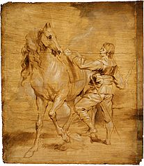 A Man Mounting a Horse