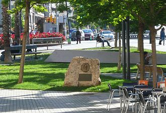 Pompeu Fabra - The monolith that stands as a homage to Pompeu Fabra on the Plaça Lesseps in Barcelona
