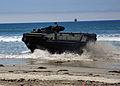 A U.S. Marine Corps assault amphibious vehicle comes ashore during a maritime prepositioning force training scenario June 13, 2013, in Coronado, Calif., as part of exercise Dawn Blitz 2013 130613-N-OP638-093.jpg