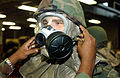 A US Air Force (USAF) Airmen has his MCU-2A-P mask inspected during the chemical warfare training Exercise SABERTOOTH 2002, at Bolling Air Force Base (AFB), Washington, DC 021016-F-JF472-358.jpg
