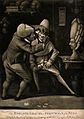 A barber shaving a man. Mezzotint. Wellcome V0019709.jpg