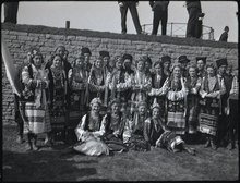 A group of male and female Ukrainian Canadians wearing cultural clothing.