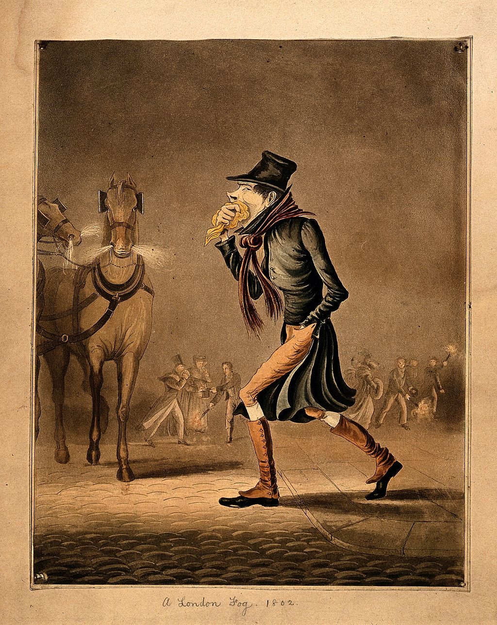 A man covering his mouth with a handkerchief, walking throug Wellcome V0010880