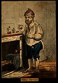 A man standing by a fireplace, pulling a peculiar face after Wellcome V0011207ER.jpg