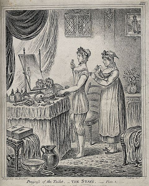 File:A woman standing at a dressing table while a maidservant lac Wellcome V0019929.jpg