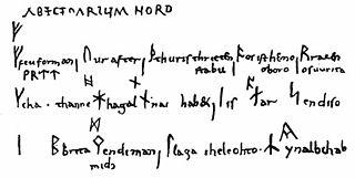 Abecedarium Nordmannicum presentation of the 16 runes of the Younger Futhark as a short poem