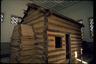 Abraham Lincoln Birthplace National Historical Park - Symbolic log cabin in memorial building