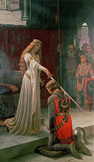 Order of the Bath - A painting by Edmund Leighton depicting a fictional scene of a knight receiving the accolade