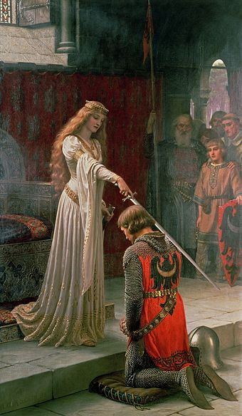 A painting by Edmund Leighton depicting an investiture of a fictional knight receiving the accolade Accolade by Edmund Blair Leighton.jpg