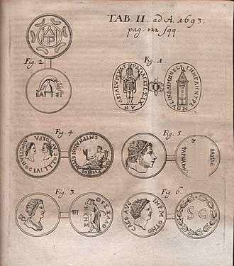 Jacob de Wilde - Illustration from critique of Selecta numismata antiqua; ex musæo Jacobi de Wilde published in Acta Eruditorum, 1693