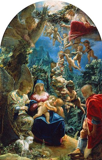 Adam Elsheimer - Holy Family with St John the Baptist, 37.5 x 24 cm, Berlin-