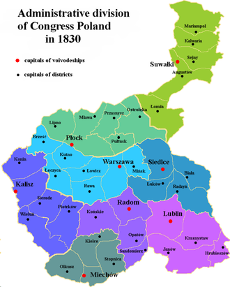 Administrative division of Congress Poland - Administrative division of Congress Poland in 1830. This map represents the period 1816-1837 and is mostly valid for the period of up to 1844.