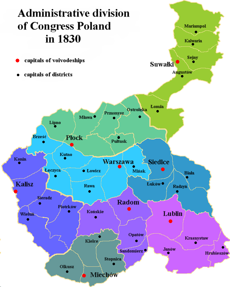 Administrative divisions of Congress Poland in 1830 ENG.png