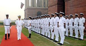 India–Turkey relations - Admiral E Murat Bilgel, Commander of the Turkish Naval Forces, accorded with a guard of honour by the Indian Navy at South Block lawn, New Delhi.