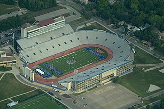 Memorial Stadium (University of Kansas) - Image: Aerial View of University of Kansas Stadium 08 31 2013