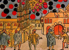 Baselissa Sveitsissä nähtiin outoja valoja taivaalla  7. elokuuta 1566. Samuel Cocciuksen piirros.
