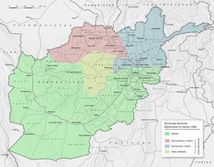 A German map showing the political status of Afghanistan in the fall of 1996, just after the Taliban conquered Kabul Afghanistan politisch 1996.png