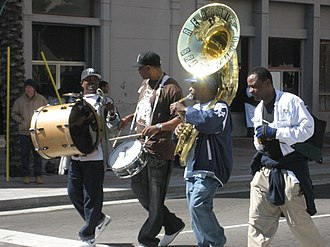 Derrick Tabb - Derrick Tabb (on snare drum) in a second-line parade in New Orleans (2007)
