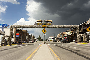 Afton, Wyoming - Main Street Afton with antler arch