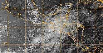 Tropical Storm Agatha - Tropical Storm Agatha making landfall near the Mexico–Guatemala border on May 29
