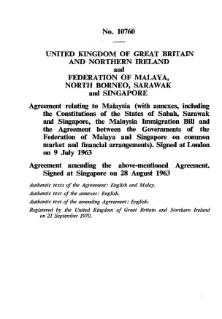Malaysia Agreement Treaty combining North Borneo, Sarawak and Singapore into Malaya