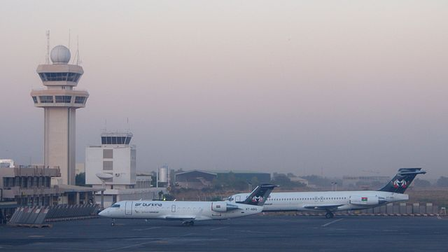 Two planes of Air Burkina on the tarmac at Ouagadougou international airport