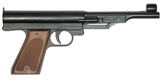 ISSF 10 meter air pistol - Spring-piston air guns were in common use during the first decades of the sport, but are now seldom seen at high levels.