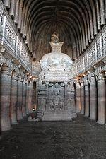 File:Ajanta, cave 26, chaitya-griha, Buddha (9841424296).jpg