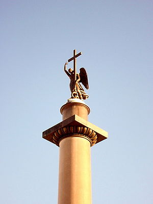 Alexander Column - The top of the column, showing statue of an angel holding a cross