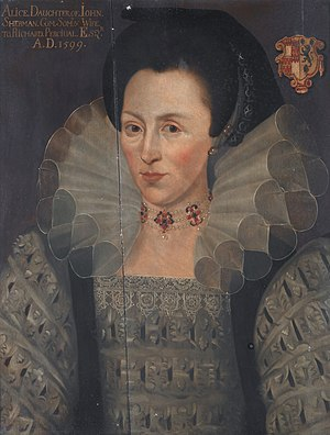 Richard Percivale - Alice Sherman, portrait in manner of Marcus Gheeraerts the Younger, 1599)