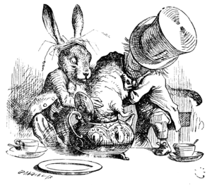 Hatter (Alice's Adventures in Wonderland) - The March Hare and the Hatter put the Dormouse's head in a teapot, by Sir John Tenniel.